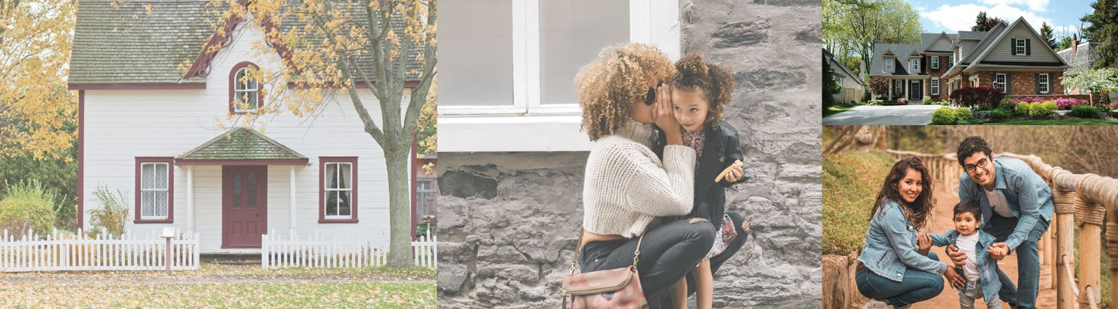 Small white cottage home with red trim, mother with curly hair whispering into daughter's ear, large 2 story brick house with colorful floral landscaping, mother, father, and toddler son posing as a family.