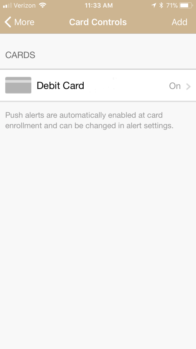 Screen on mobile app showing how to turn debit card controls on and off