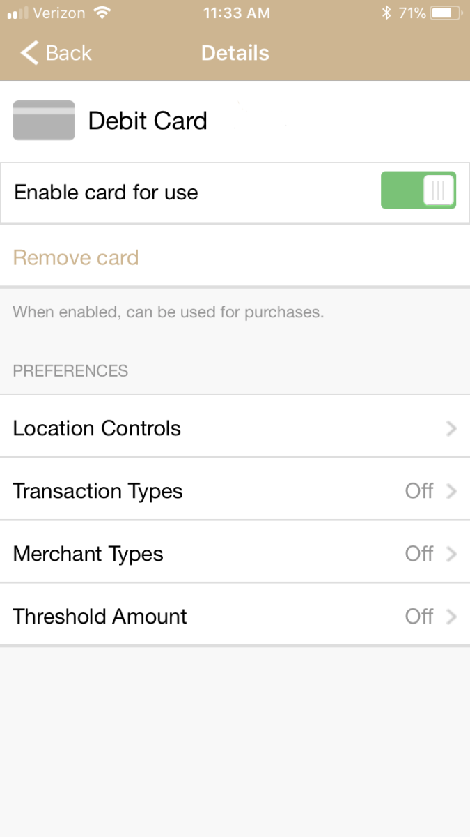 Mobile app screen showing the list of commands for debit card control